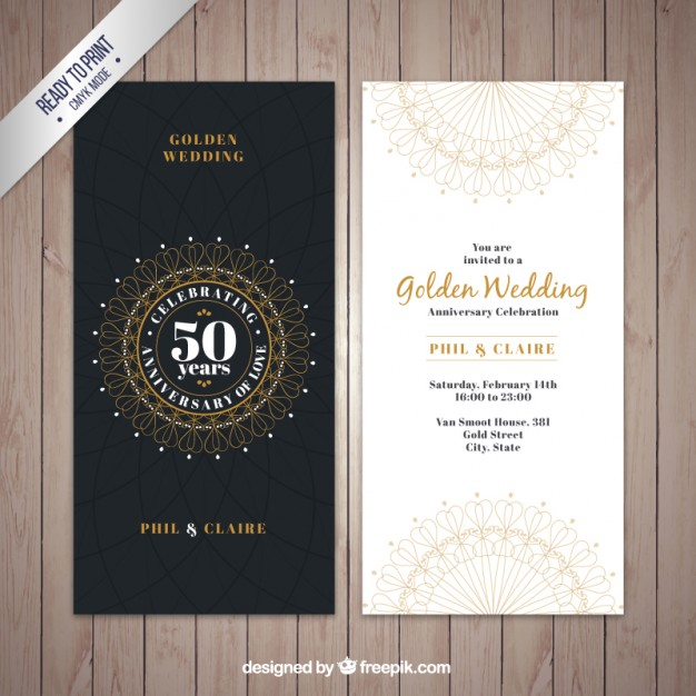 626x626 Classic Golden Wedding Invitation Vector Free Download
