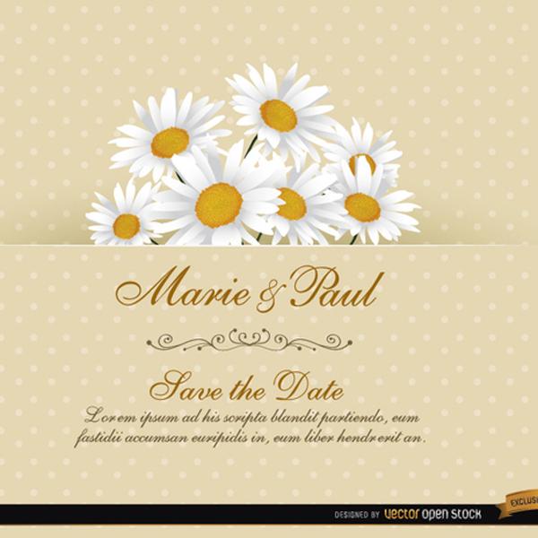 600x600 Daisy Floral Wedding Invitation Vector Card