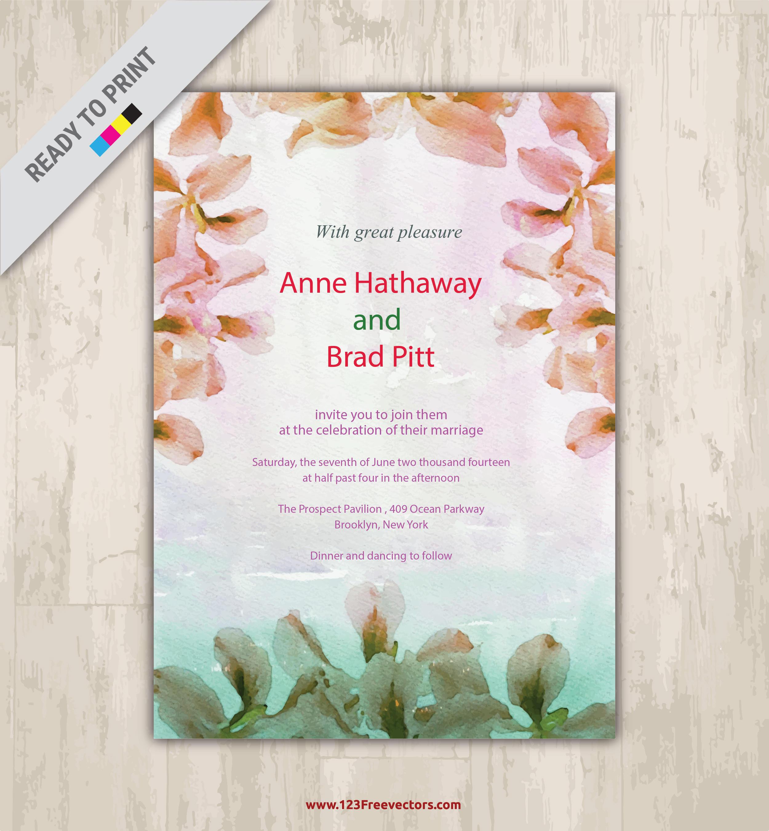 2500x2700 Floral Watercolor Invitation Vector Graphics 123freevectors