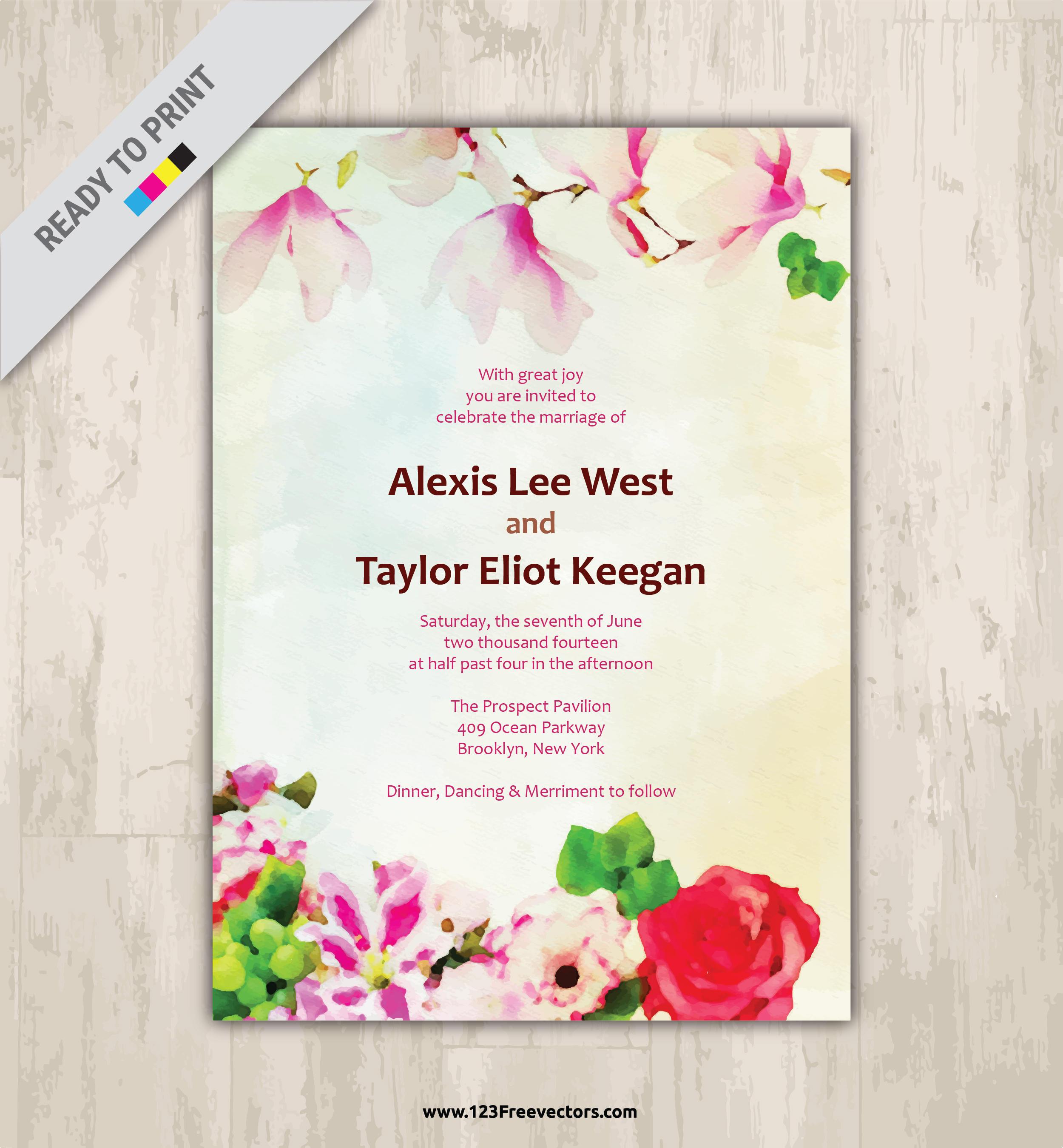 2500x2700 Floral Watercolor Wedding Invitation Vector Image 123freevectors