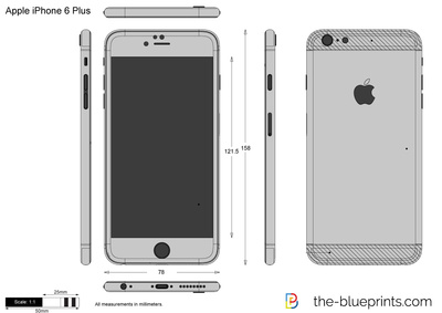 400x283 Apple Iphone 6 Plus Vector Drawing