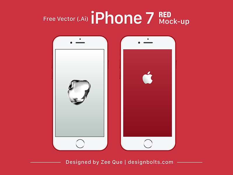 800x600 Free Vector Apple Iphone 7 Red Mock Up In Ai Amp Eps By Zee Que