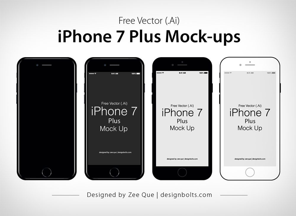 1000x732 Free Vector Flat Official Apple Iphone 7 Plus Mock Up In Ai Eps