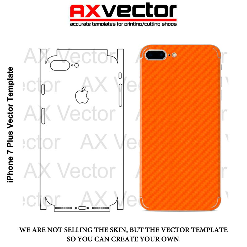800x800 Iphone 7 Plus Vector Template, Accurate Contour Cut For Skins Or