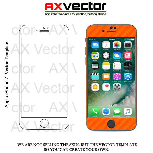 600x600 Iphone 7 Vector Template, Accurate Contour Cut For Skins Or Decals