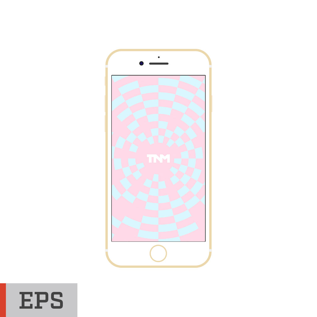 1024x1024 Flat Vector Mockup Eps Template For Apple Iphone 7 Gold