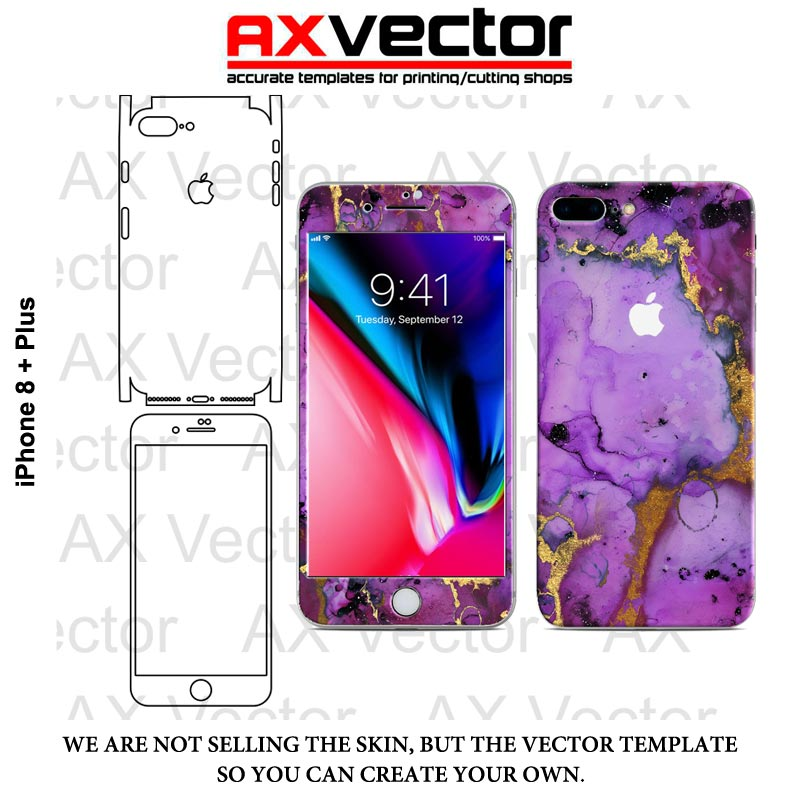 800x800 Iphone 8 Plus Vector Template, Accurate Contour Cut For Skins Or