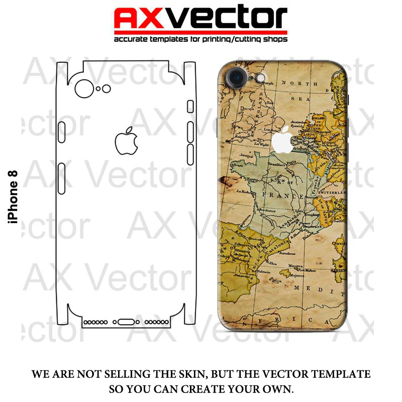 800x800 Iphone 8 Vector Template, Accurate Contour Cut For Skins Or Decals