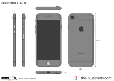 400x283 Apple Iphone 8 Vector Drawing