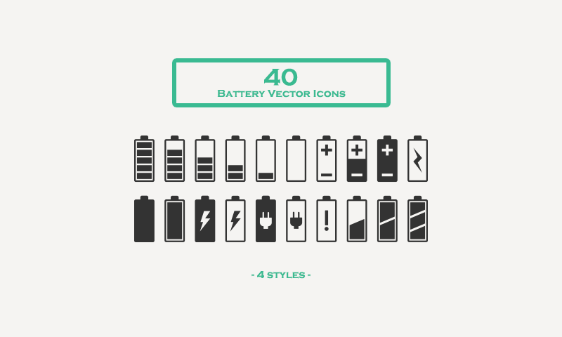 800x480 Free Download 40 Battery Vector Icons