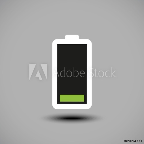 500x500 Low Battery Icon. Vector Illustration