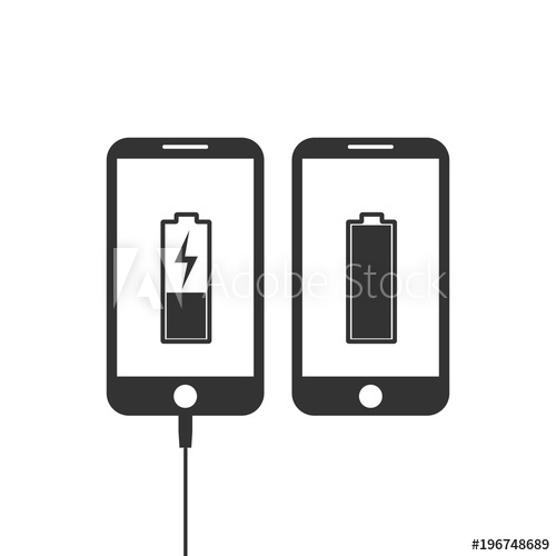 500x500 Phone On Charge Icon. Battery Load Icon. Vector Illustration. Flat