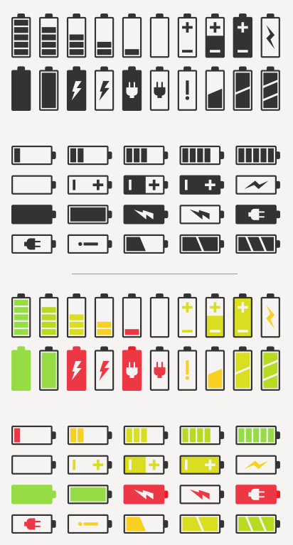 412x767 40 Battery Vector Icons