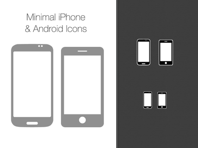 400x300 Free Psd Vector Minimal Iphone And Android Icons Psd Icon
