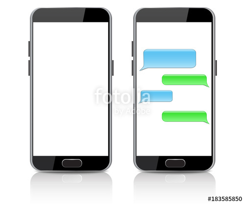 500x417 Text Message Boxes On Smartphone Screen Empty Text Bubbles Stock