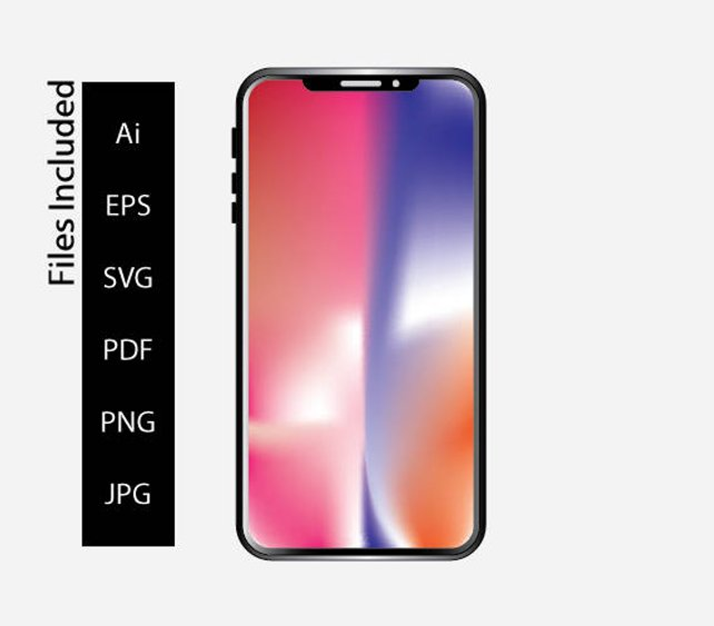 642x563 Iphone X Iphone Vector Iphone Mockup Iphone X Template Etsy