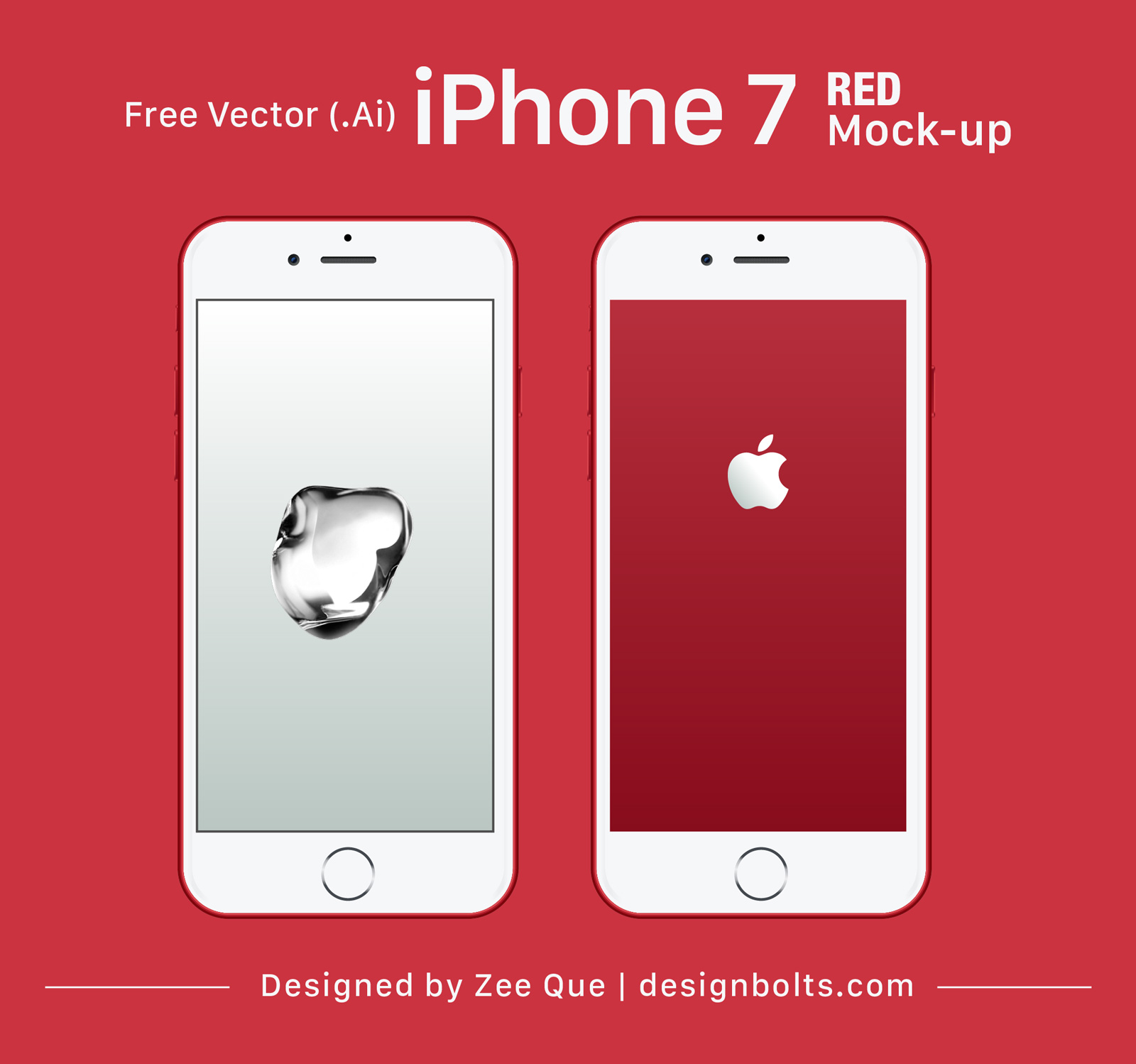 1600x1498 Free Vector Apple Iphone 7 Red Mock Up In Ai Amp Eps Format