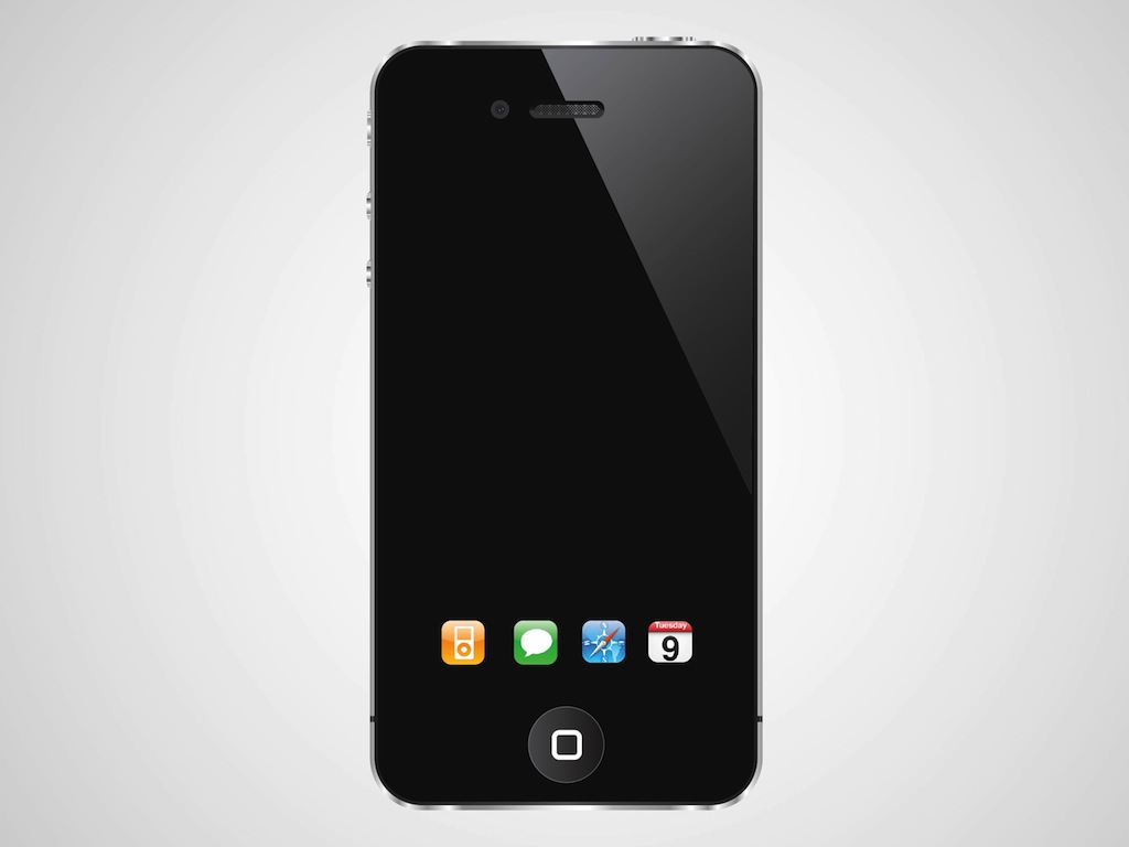 1024x768 I Phone With Dock Icons Vector Art Amp Graphics