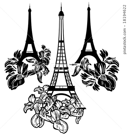 424x450 Eiffel Tower Among Iris Flowers Vector Collection