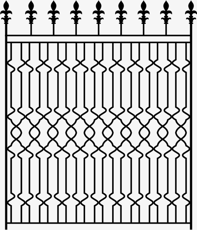 650x756 Vector Hand Painted Iron Fence, Vector, Hand Painted, Iron Fence