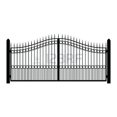 450x450 Black Rod Iron Fence Vector Illustration Wrought Iron Fence Old