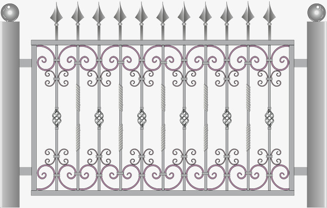 650x413 European Style Forged Classical Fence, Vector Diagram, Iron, Iron