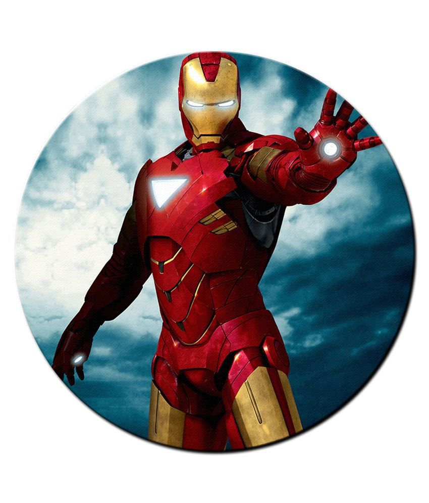 850x995 Shopmantra Multicolour Iron Man Vector Art Design Round Mousepad