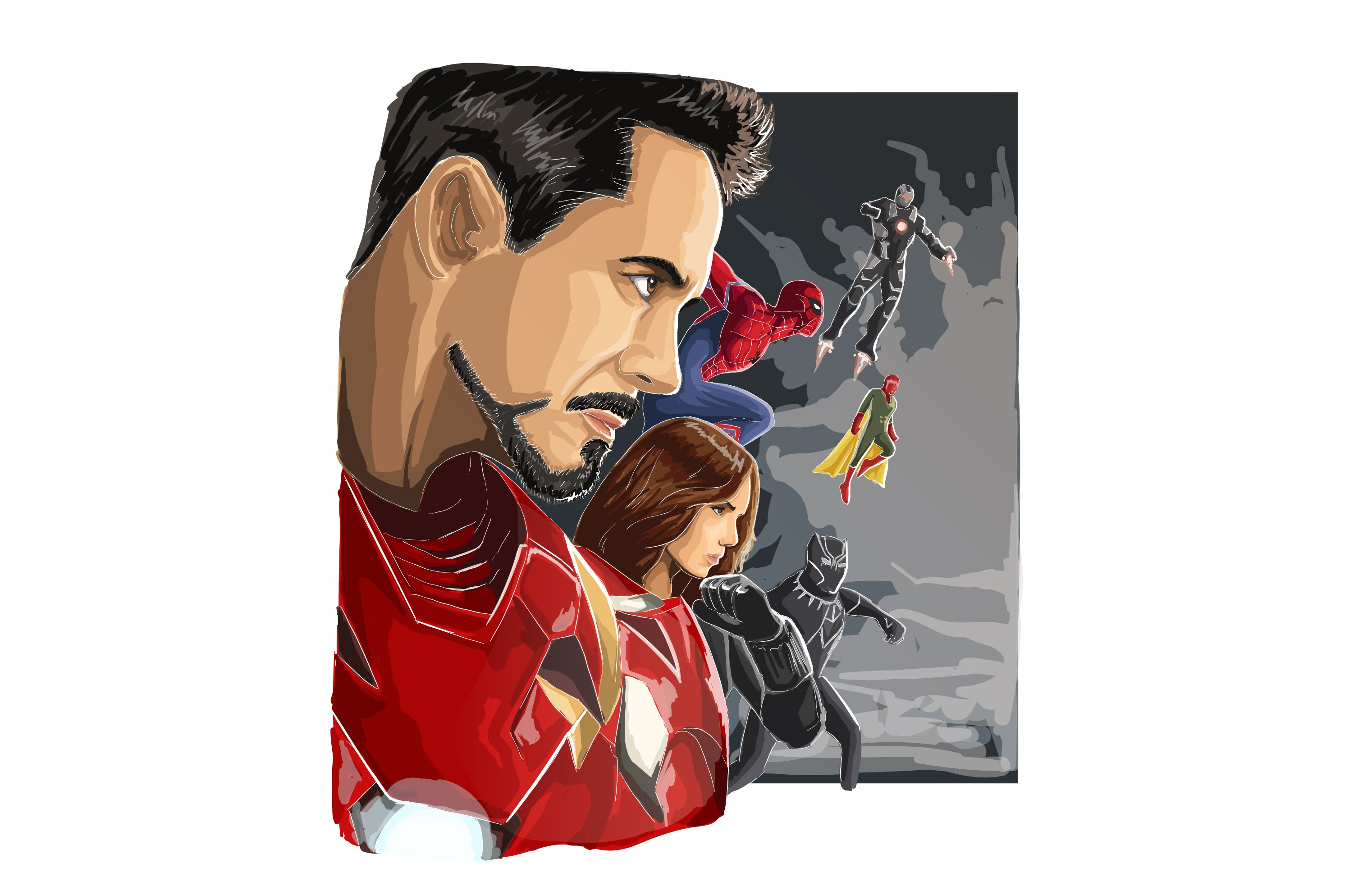 3044x1986 Vector Tutorial Civil War Part 1 (Iron Man Team)