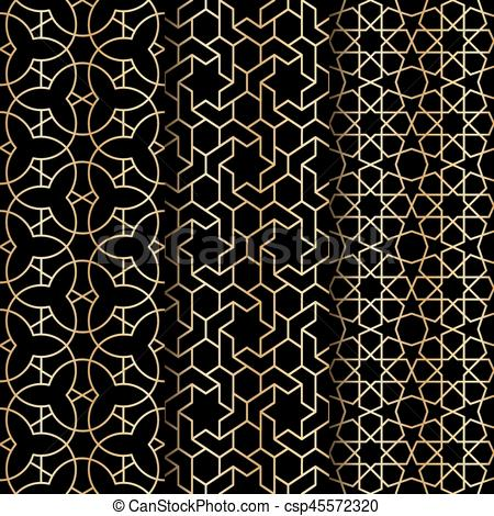 450x470 Islamic Geometry Pattern. Set Of Islamic Gold Oriental Geometry