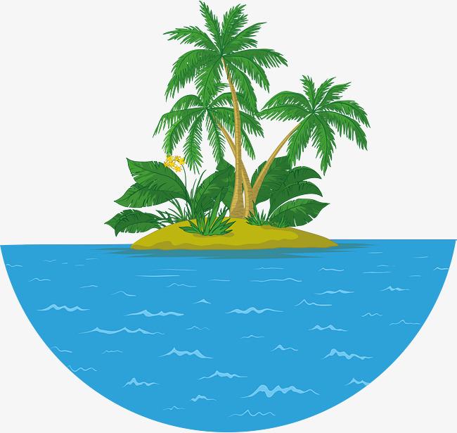 650x615 Summer Coconut Tree Island Vector, Summer Vector, Coconut Vector