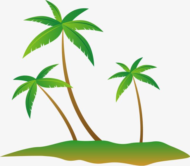 650x566 Cool Summer Coconut Tree Island Vector, Summer Vector, Coconut