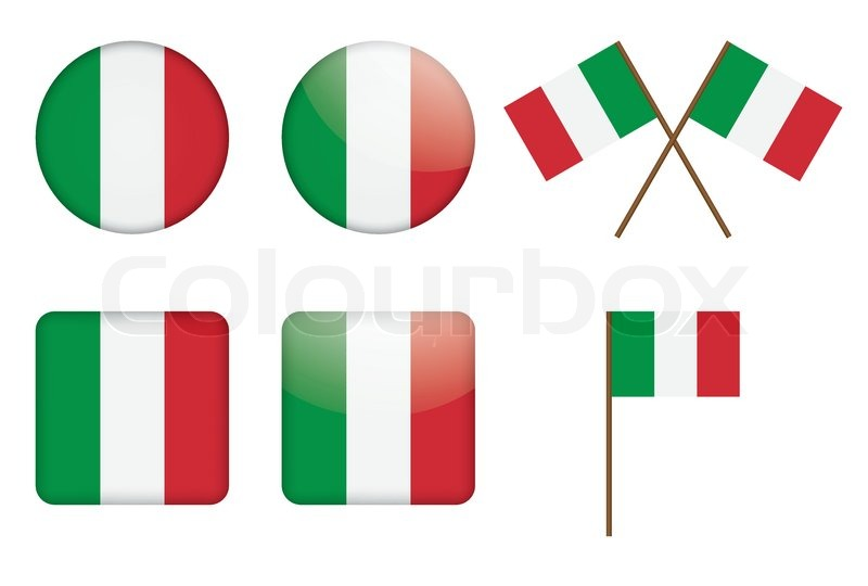 800x540 Set Of Badges With Italian Flag Vector Illustration Stock Vector