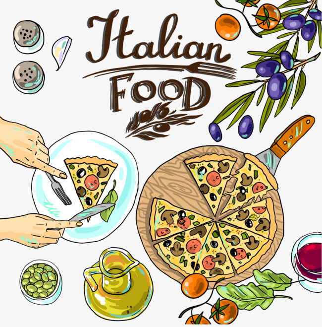 650x659 Hand Painted Italian Food, Food Clipart, Italy Pizza, Vector