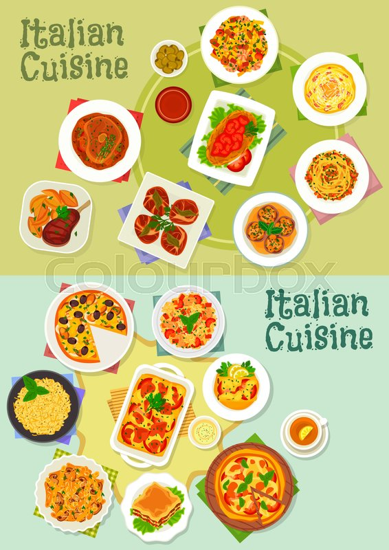 566x800 Italian Cuisine Pasta And Pizza Dishes Icon Set With Ham, Mushroom