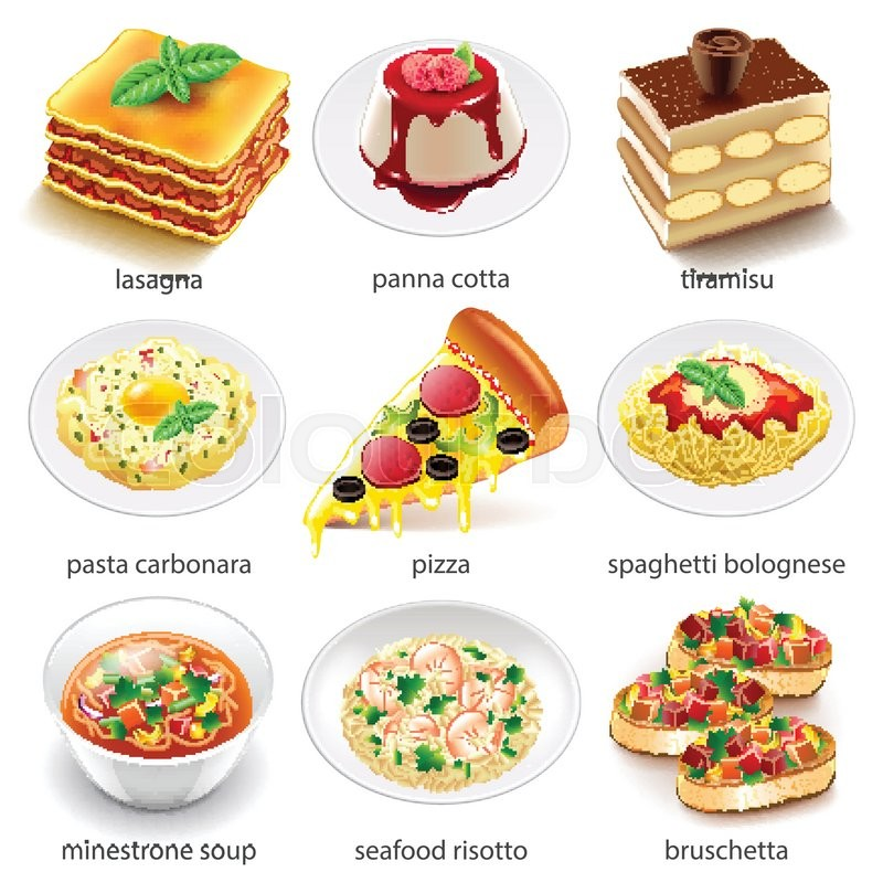 800x800 Italian Food Icons Detailed Photo Realistic Vector Set Stock