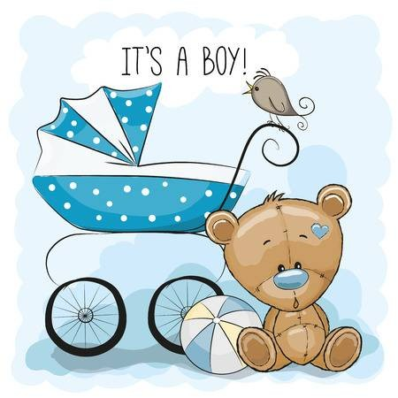 450x450 43418268 Stock Vector Greeting Card It S A Boy With Baby Carriage
