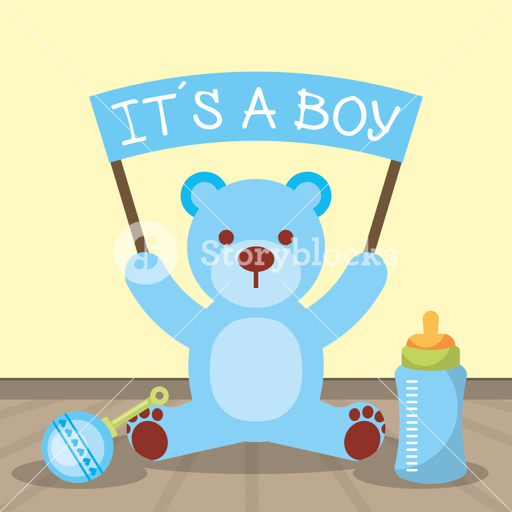 1000x1000 Baby Shower Card Blue Bear Holding Board Its A Boy Vector