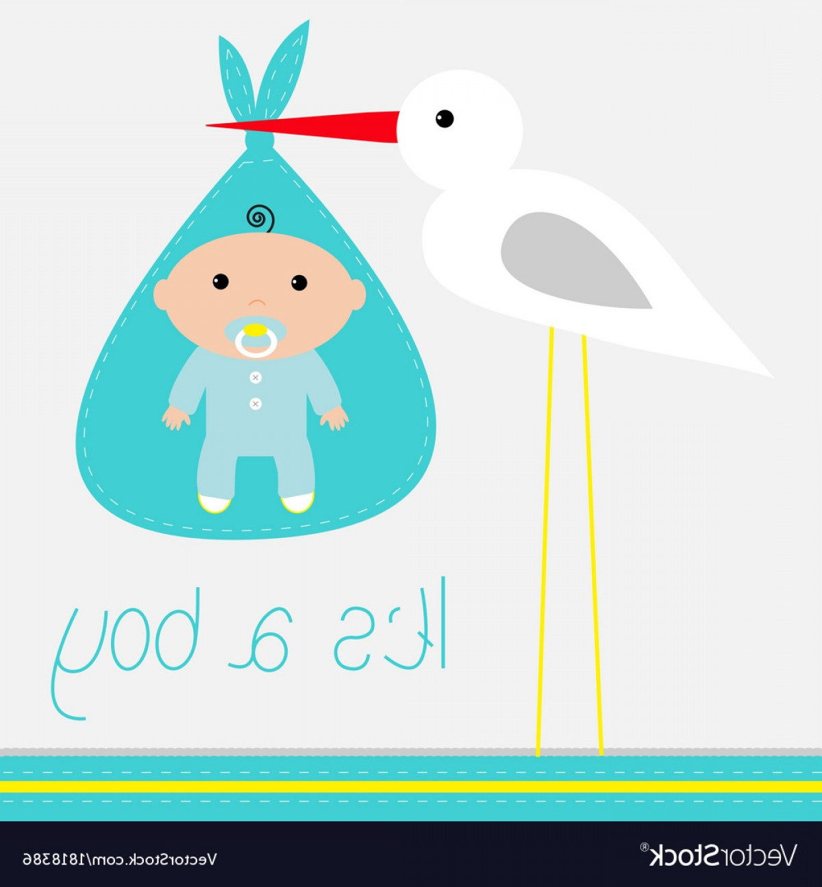 1200x1296 Baby Shower Card With Stork Its A Boy Vector Shopatcloth