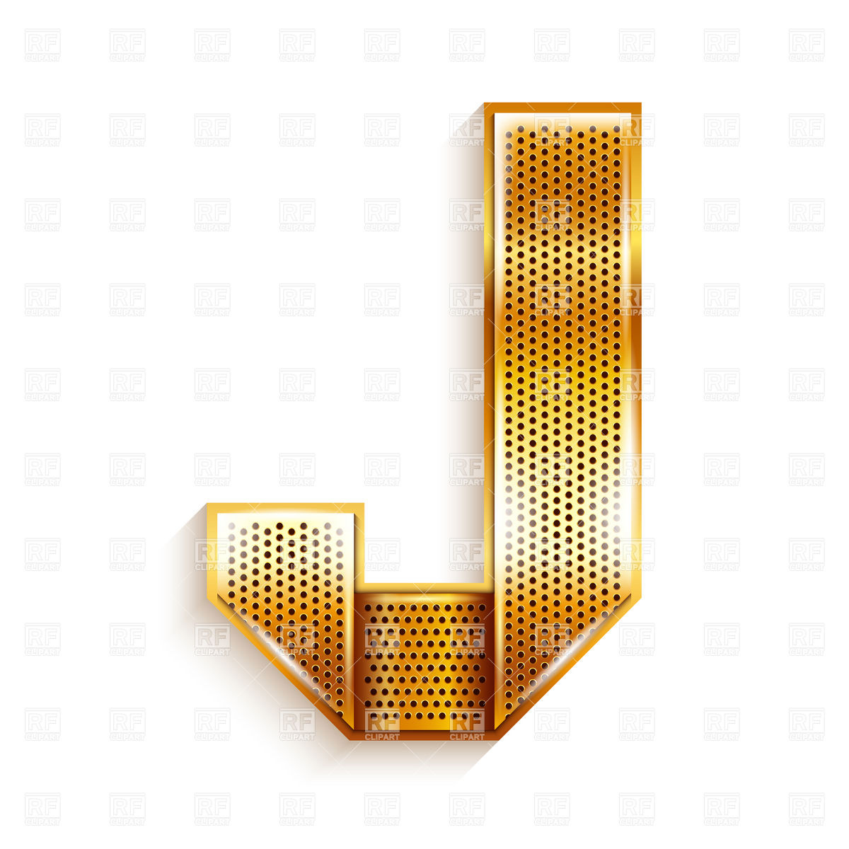 1200x1200 Alphabet Made Of Golden Perforated Tape, Letter J Vector Image