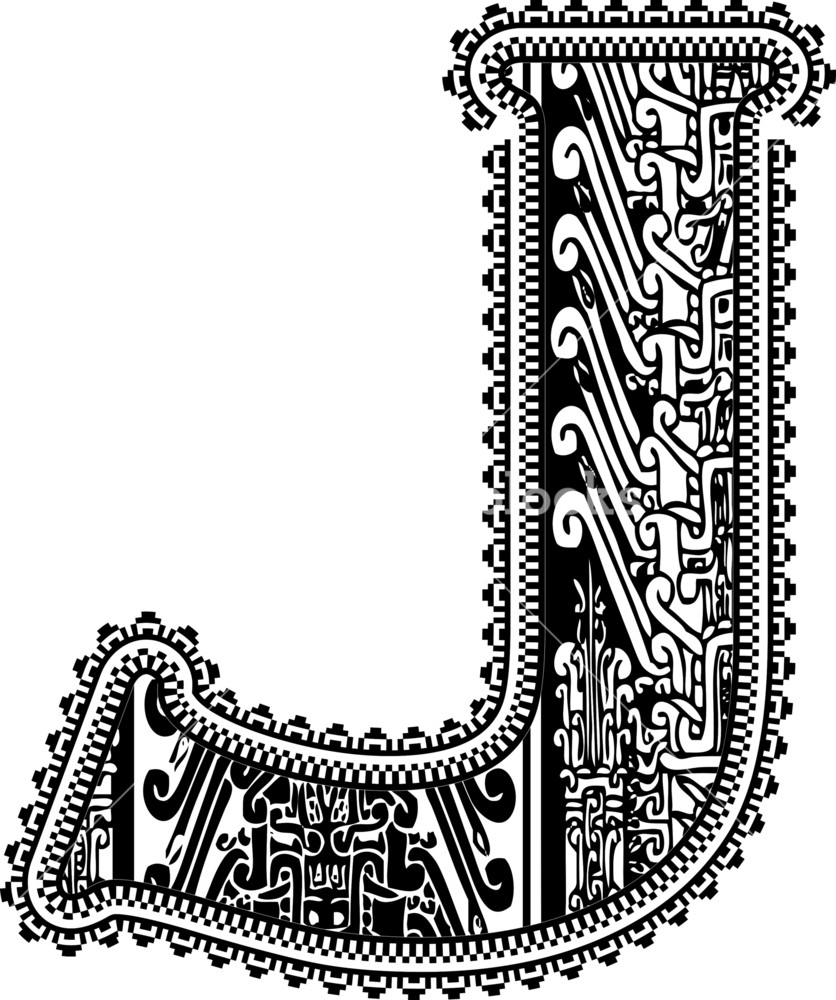 836x1000 Ancient Letter J. Vector Illustration Royalty Free Stock Image