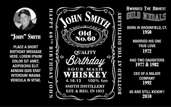 570x357 Jack Daniels Inspired Mini Bottle Labels Personalized Printable