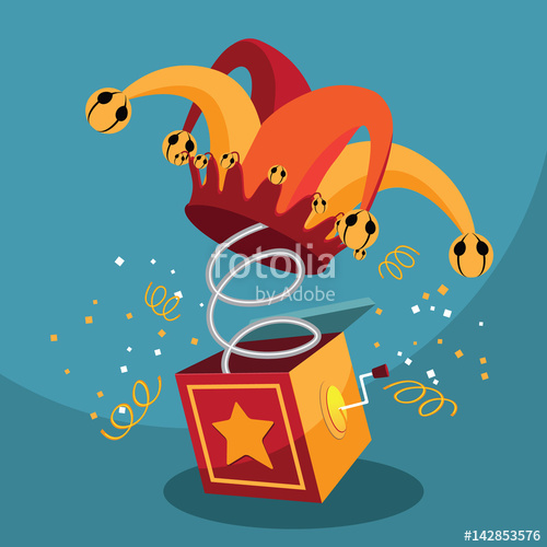 500x500 Jack In The Box With Confetti, Jester Hat. Eps 10 Vector. Stock