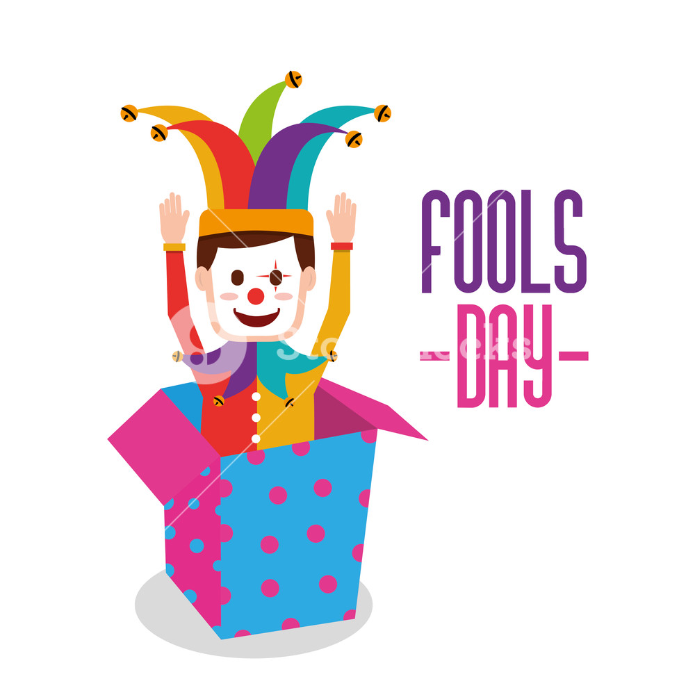 1000x1000 Fools Day Surpised Clown In Jack Box Vector Illustration Royalty