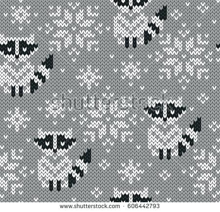 450x435 Jacquard Knitted Seamless Pattern Winter Background With Cute