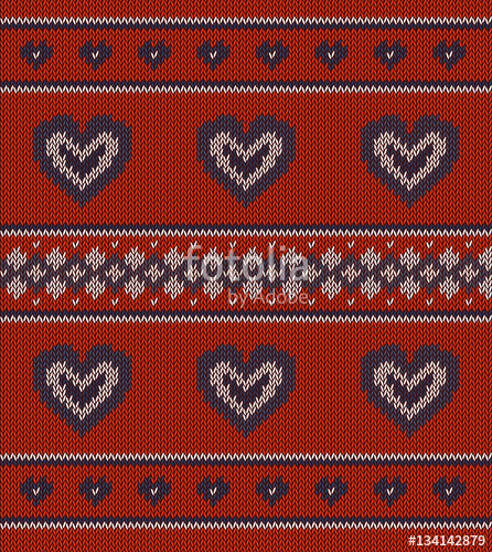 446x500 Jacquard Pattern With Hearts On Red Stock Image And Royalty Free