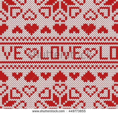 450x435 Knitted Love Seamless Jacquard Pattern. Northern Style. Red And