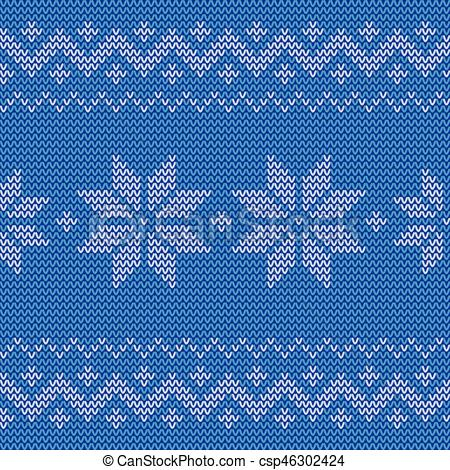 450x470 Beautiful Knitted Blue Jacquard Seamless Pattern With Flowers