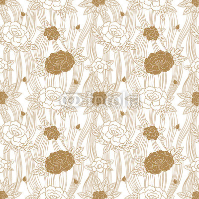 400x400 Peony Japanese Pattern Seamless Vector. Oriental Floral Background