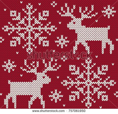 450x435 Reindeer Jacquard Seamless Pattern. Red And White Knitted
