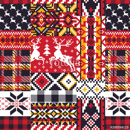 500x500 Vector Nordic Jacquard Knitted Patchwork Seamless Pattern